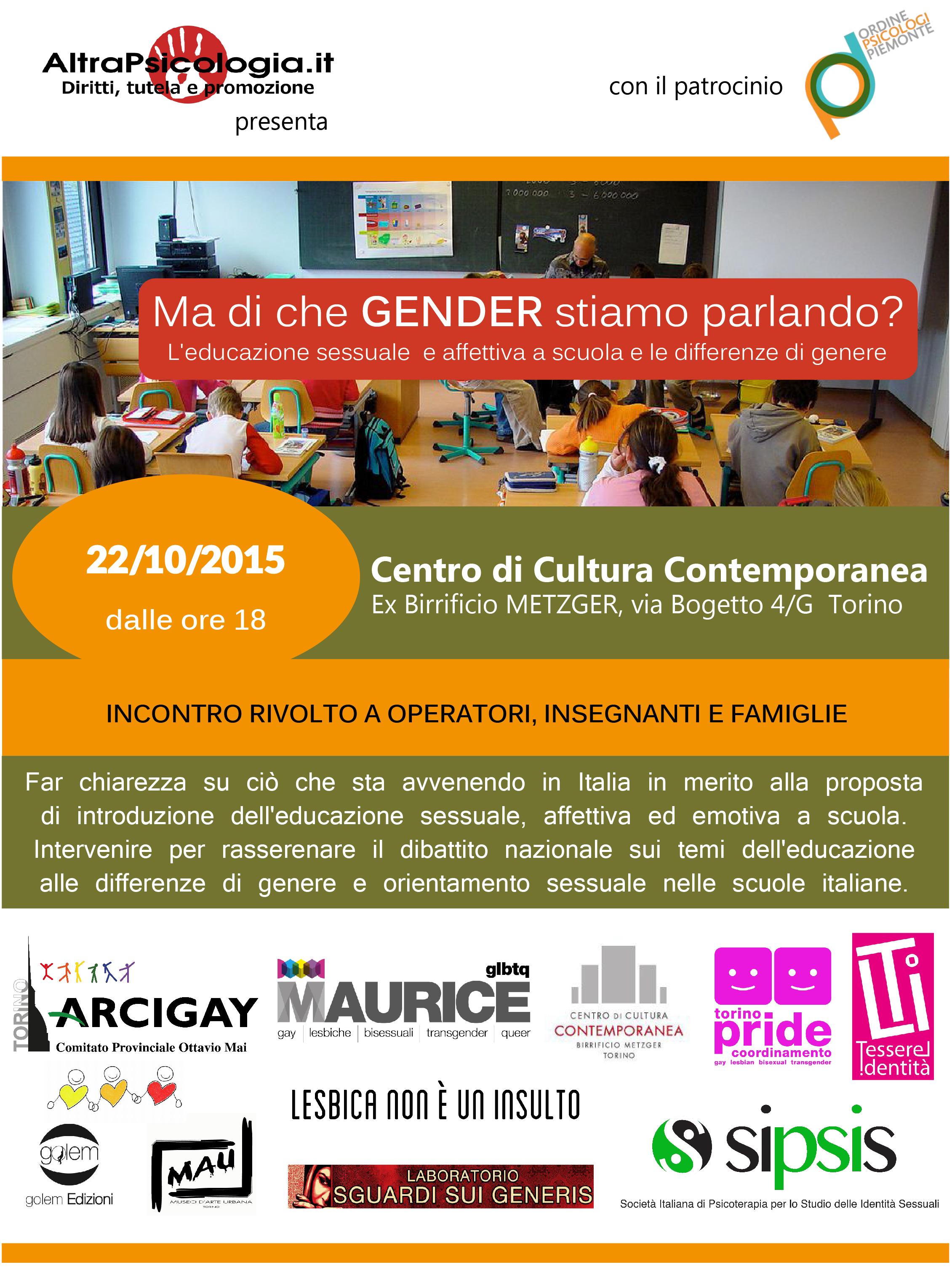 Ma di che Gender stiamo Parlando? Evento a Torino, 22 Ottobre 2015