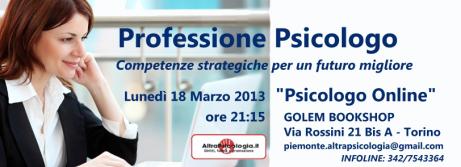 Workshop Torino 18 marzo – Lavorare come psicologo on line –